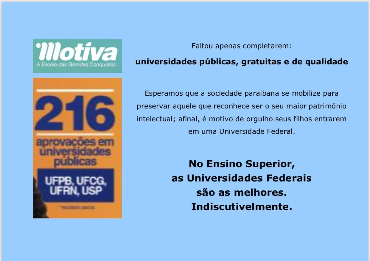 A valorização das Universidades Federais pela sociedade paraibana