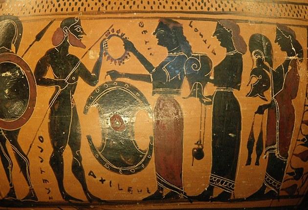 Aquiles recebe de Tétis as armas forjadas por Hefesto